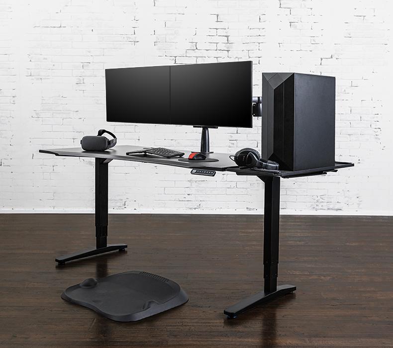 UPLIFT Gaming Desk with Black 60x30 Eco Desktop, Black V2 Frame, Zilker Dual Monitor Arm, Desk Extension, and E7 Active Mat