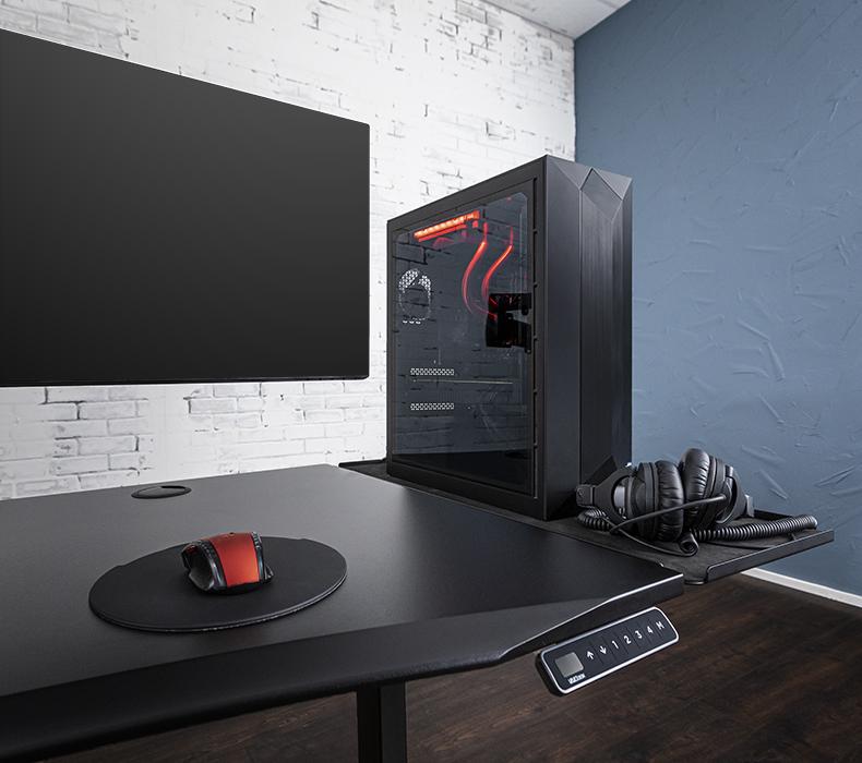 UPLIFT Gaming Desk with Black 60x30 Eco Desktop, Black V2 Frame, Zilker Dual Monitor Arm, and Desk Extension