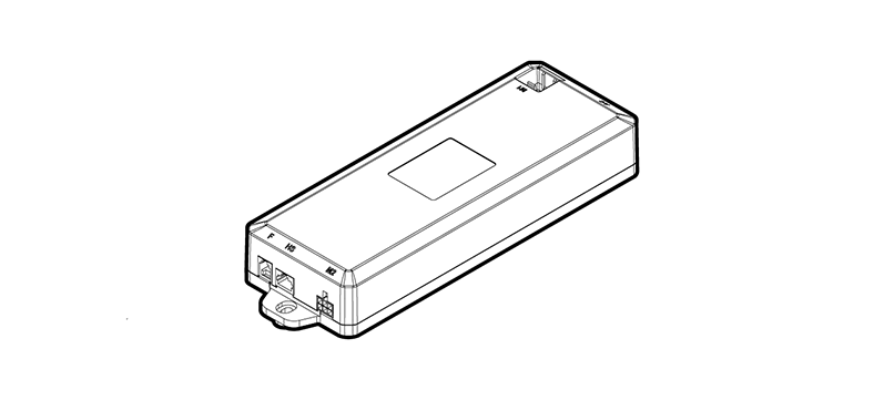 UPLIFT Desk Control Box with a 90-degree M1 Port on top of control box